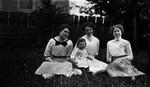 Margaret Stirling & daughter Doris - middle (2 others?), ca.1918.  Cavendish, P.E.I.