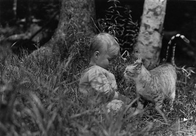 Chester and cat, ca.1913, Leaskdale, ON.