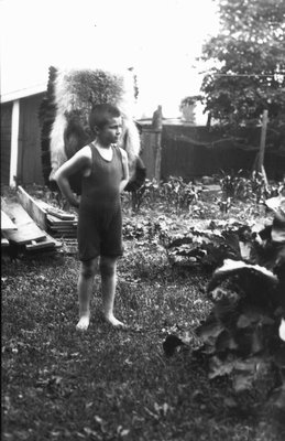 Chester is his swimsuit, ca.1921.  Leaskdale, ON.