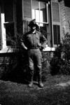 Chester Macdonald wearing mining helmet, Norval, ON.