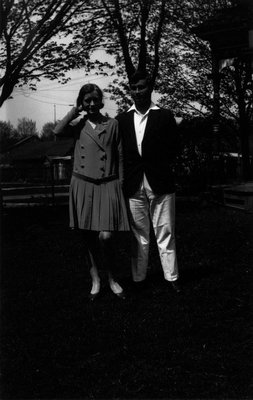Chester & unidentified woman, ca.1928.  Norval, ON.