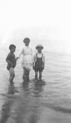 Chester, Marian & Keith Webb in the water, ca.1919.  Park Corner, P.E.I.