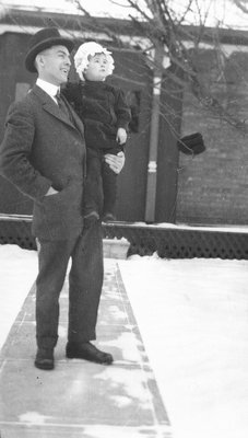 Chester with cousin Cuthbert McIntyre, Winter 1916.  Leaskdale, ON.