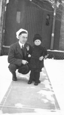 Chester with Cuthbert McIntyre, Winter 1916, Leaskdale, ON.