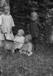 Chester, Polly the cat and Keith & Marian Webb, ca.1913.  Park Corner, P.E.I.