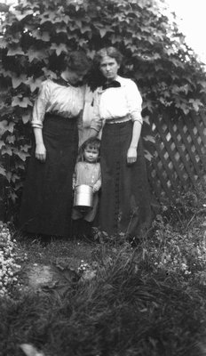 Chester at 2 years with Mrs. G. Leask on left (?), ca.1914.  Leaskdale, ON.