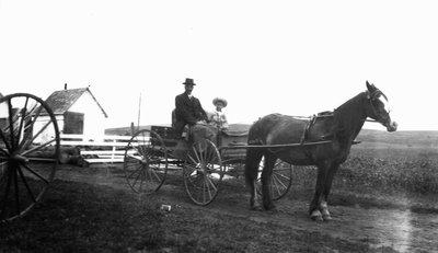 Chester with Hamilton MacNeill in buggy, ca.1917.  Cavendish, P.E.I.