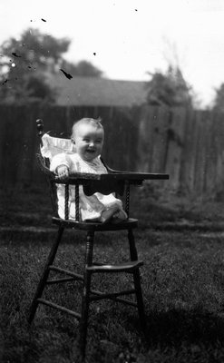 Stuart in high chair age 10 months, ca.1916.  Leaskdale, ON.
