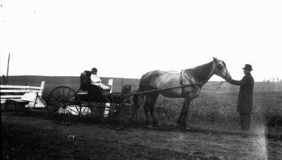 Stuart Macdonald in buggy, ca.1919.  Leaskdale, ON. (?).