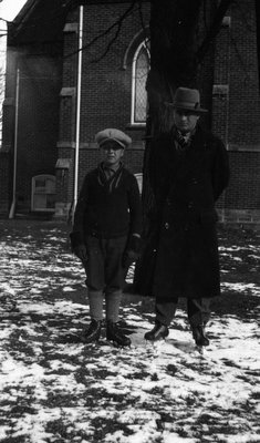 Stuart & Chester with skates on, Norval, ON.