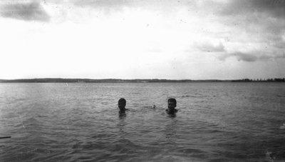 Stuart & Chester swimming.