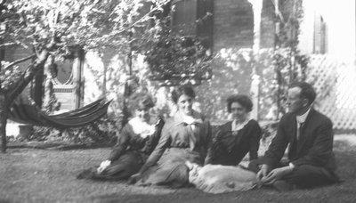 Margaret Stirling & husband (foreground), ca.1913.  Leaskdale, ON.
