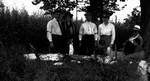 Roadside picnic on way to Bala, ON. - Lucy Maud Montgomery, Ewan, Stuart, Chester, Rev. Alonzo Smith & wife and friend (?), ca.1921.  Leaskdale, ON.
