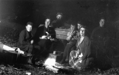 Corn roast with Lucy Maud Montgomery, Chester, Stuart & others, ca.1922.  Leaskdale, ON.