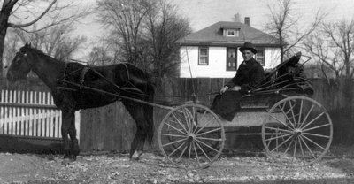 Mr. Crew - the mailman, ca.1915 (?).  Leaskdale, ON.