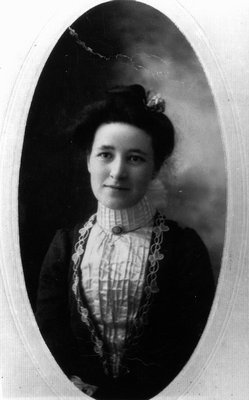 Edith Russell as young woman, ca.1920, Leaskdale, ON.