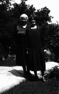 Mrs. Bro. E.Y. Barraclough with daughter Lorrie, ca.1928.  Norval, ON.