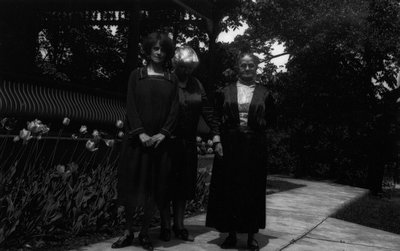 Mrs. Bro. E.Y. Barraclough, Lorrie & (grandmother ?), ca.1928.  Norval, ON.