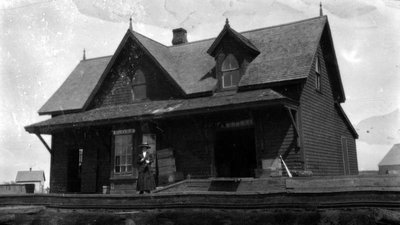 Ellerslie Station (Lucy Maud Montgomery in photo?), ca.1895.  P.E.I.
