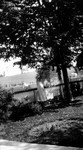 Girl on lawn and person in tree,  Leaskdale, ON.