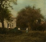 Three unidentified women in front of Amanda MacNeill's House, Cavendish, P.E.I.