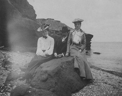 Kate MacNeill, Kate's boyfriend, and Lucy Maud Montgomery, Cavendish, P.E.I., ca.1890's.