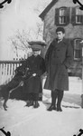 Chester at 13, Stuart at 10, with dog Dixie, 1925-26.