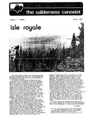 Nastawgan (Richmond Hill, ON: Wilderness Canoe Association), Spring 1980