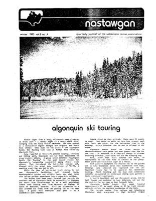 Nastawgan (Richmond Hill, ON: Wilderness Canoe Association), Winter 1982