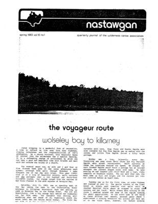 Nastawgan (Richmond Hill, ON: Wilderness Canoe Association), Spring 1983