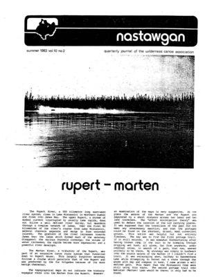 Nastawgan (Richmond Hill, ON: Wilderness Canoe Association), Summer 1983