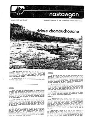 Nastawgan (Richmond Hill, ON: Wilderness Canoe Association), Fall 1983
