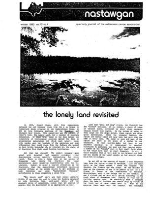 Nastawgan (Richmond Hill, ON: Wilderness Canoe Association), Winter 1983