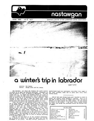 Nastawgan (Richmond Hill, ON: Wilderness Canoe Association), Winter 1985