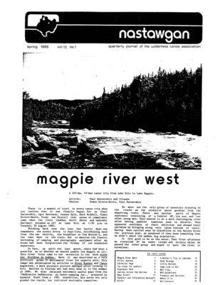 Nastawgan (Richmond Hill, ON: Wilderness Canoe Association), Spring 1986