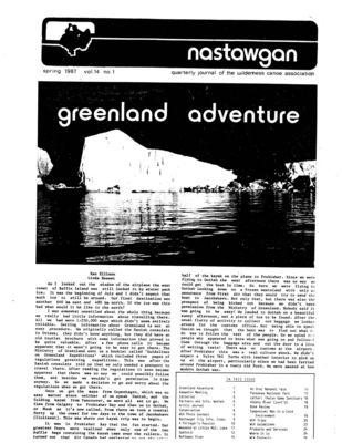 Nastawgan (Richmond Hill, ON: Wilderness Canoe Association), Spring 1987