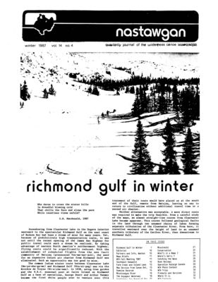 Nastawgan (Richmond Hill, ON: Wilderness Canoe Association), Winter 1987
