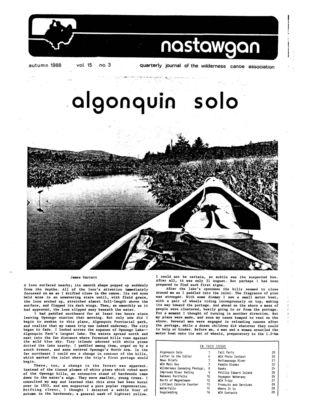 Nastawgan (Richmond Hill, ON: Wilderness Canoe Association), Fall 1988