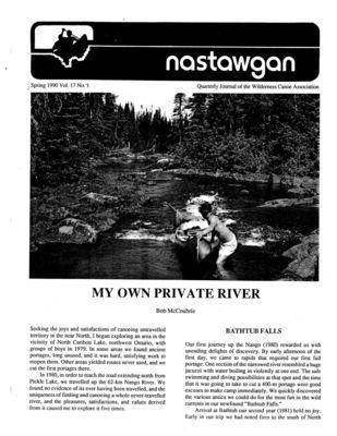 Nastawgan (Richmond Hill, ON: Wilderness Canoe Association), Spring 1990