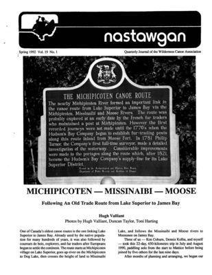Nastawgan (Richmond Hill, ON: Wilderness Canoe Association), Spring 1992