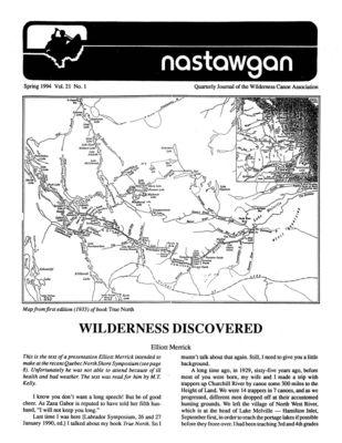 Nastawgan (Richmond Hill, ON: Wilderness Canoe Association), Spring 1994