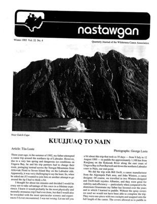 Nastawgan (Richmond Hill, ON: Wilderness Canoe Association), Winter 1995