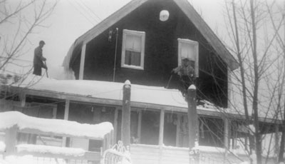 Shoveling Snow off the Roof, McAmmond Farm, circa 1950
