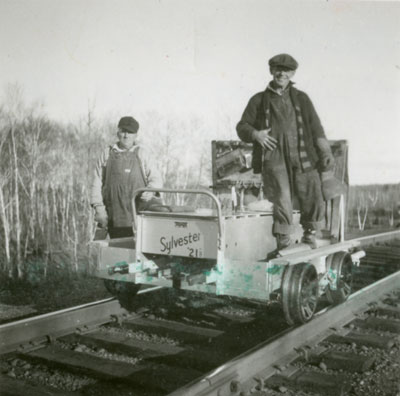 Dan Mitchoff and Earl Follick on Motor Car, circa 1930