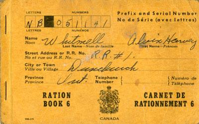Alvin Harvey Whitmell's Ration Book
