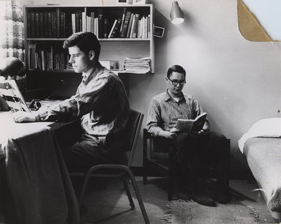 Male students in residence room, Waterloo College