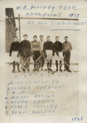 Waterloo College School hockey team, 1921