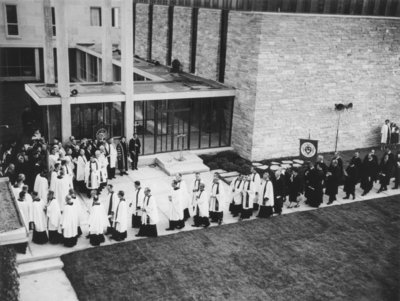 Procession at the service of dedication of the Waterloo Lutheran Seminary building