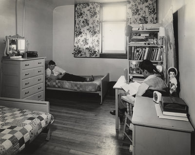 Two Waterloo College students in dormitory room