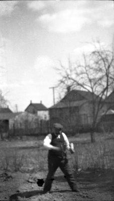 Hermann Schorten in his garden